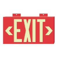 "Brady 90885 BradyGlo™ Exit/Directional Sign, Red 8"" x 15"", B-355"