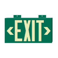 "Brady 90887 BradyGlo™ Exit/Directional Sign, Green 8"" x 15"", B-355"