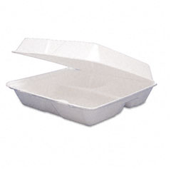 Dart 95HTPF3 Large Foam 3 Compartment Carry Out Container, 200/Cs.