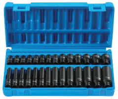Grey Pneumatic 9728M 28 Pc. 1/4'' Surface Dr. Standard & Deep, Metric Master Set
