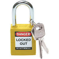 "Brady 99570 Safety Padlock, Yellow, 1 1/2"" x 1/4"" Shackle"