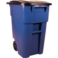 Rubbermaid 9W2700 Brute® 50 gal Rollout Waste Receptacle, Blue