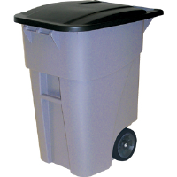 Rubbermaid 9W2700 Brute® 50 gal Rollout Waste Receptacle, Gray
