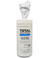 "Total Solutions 1575 Multi-Metal Polish Wipes, 40 Ct, 9.5"" X 12"", 6 /Cs"
