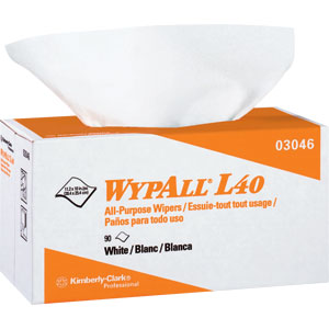 Kimberly Clark 03046 Wypall® L40 Wipers, Pop-Up Box, White, 9 Boxes/90 ea