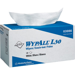 Kimberly Clark 03086 Wypall® L30 Wipers, Pop-Up Box, White, 10 Boxes/120 ea