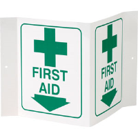 """First Aid"" 3-D Rigid Plastic Sign"