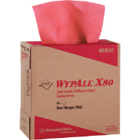Kimberly Clark 05930 Wypall® X80 Pop-Up Box, Red, 5 Pack/80 ea