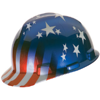 MSA 10052945 V-Gard® Hard Hat, American Stars and Stripes