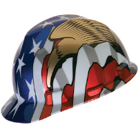 MSA 10052947 V-Gard® Hard Hat, American Flag, Eagles