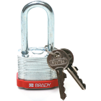 Brady 105898 (6/PK) Keyed Alike Steel Padlocks, 2 Shackle, Red