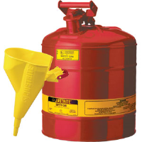 "Justrite 10802 Type I Safety Can,5 gal w/ ""I'm Easy"" Funnel"