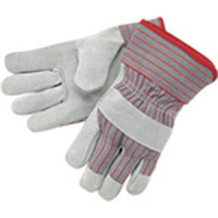 "MCR Safety 1200S Industry Grade Leather Gloves,2.5"" Starched Cuff,L,(Dz.)"