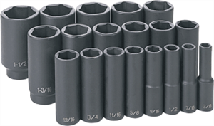 Grey Pneumatic 1319D 19 Pc. 1/2'' Drive Deep Length Fractional Master Set