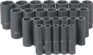 Grey Pneumatic 1326MD 26 Pc. 1/2'' Drive Deep Length Metric Master Set
