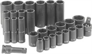 Grey Pneumatic 1328RD 28 Pc. 1/2'' Drive Standard & Deep Length Fractional Set