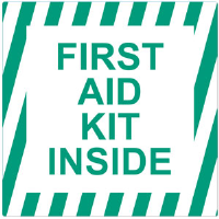 """First Aid Kit Inside"" Self-Adhesive Vinyl Sign"