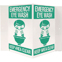 """Emergency Eye Wash"" 3-D Rigid Plastic Sign"