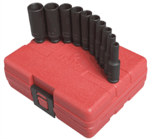 Sunex 1830 10 Pc. Deep Magnetic SAE Impact Socket Set, 1/4""