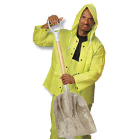 MCR Safety 2083 3 Pc. Rain Suit w/ Detach. Hood, Hiz Viz Green, XL