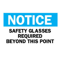 "Brady 22627 ""Notice: Safety Glasses Required Beyond"" Sign 10"" x 14"", Plastic, B-401"