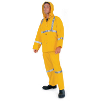 MCR Safety 2403 3 Pc. Rain Suit w/ Corduroy Collar, Yellow, M
