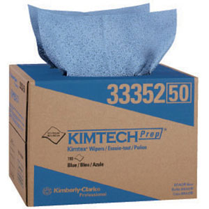 Kimberly Clark 33352 Kimtech Prep Kimtex Wipers, Brag Box, Blue, 180/Box