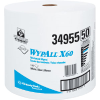 Kimberly Clark 34955 Wypall® X60 Wipers, Jumbo Roll, White, 1,100/Roll
