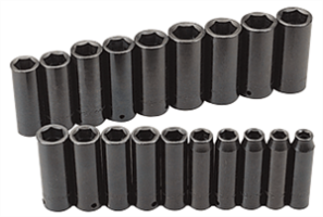SK Hand Tools 4049 19 Pc. 6 Point Deep Fractional Impact Socket Set, 1/2""