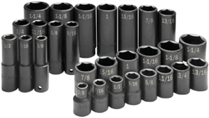SK Hand Tools 4051 28 Pc. 6 Point Standard/Deep Fractional Impact Socket Set, 1/2""