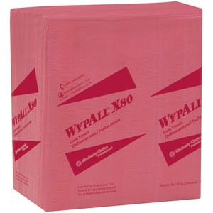 Kimberly Clark 41029 Wypall® X80 1/4-Fold, Red, 4 Pack/50 ea