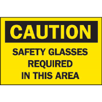 "Brady 41159 ""Caution: Safety Glasses Required In This Area"" Sign, 10 x 14"", B-555"