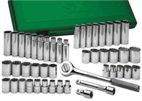 SK Hand Tools 4147 47 Pc. 12 Point Standard/Deep SAE/Metric Socket Set, 1/2""