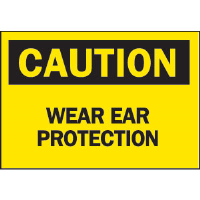 "Brady 43054 ""Caution: Wear Ear Protection"" Sign, 10"" x 14"", Aluminum, B-555"