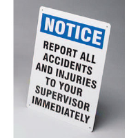 "Brady 45672 ""Notice: Report All Accidents/Injuries"" Sign, 14"" x 10"", Plastic, B-401"