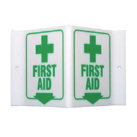 "Brady 49373 ""First Aid"" Sign, 6""H x 9""W x 4""D, Acrylic"