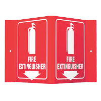 "Brady 49377 ""Fire Extinguisher"" Sign, 6""H x 9""W x 4""D, Acrylic"