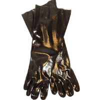 "MCR Safety 6218 Single Dipped Black PVC Gloves, 18"" Smooth,(Dz.)"