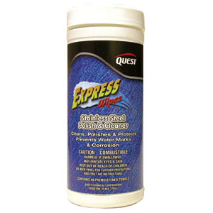 Quest Chemical 653 Express Wipes Stainless Steel Polish/Cleaner 40 Ct, 6/Cs