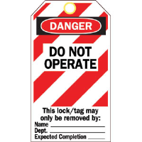 "Brady 65525 Polyester Tag, ""Danger: Do Not Operate"", Striped, 25/Pkg"