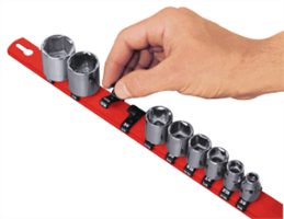 "Ernst 8300 18"" Universal Socket Rail Organizer w/ 15 socket clips, 1/4"" Red"