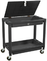 Astro Pneumatic 8334 2 Shelf Plastic Cart w/ Locking Lid, Black