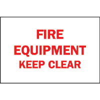 "Brady 85253 ""Fire Equipment: Keep Clear"" Sign, 7""H x 10""W"