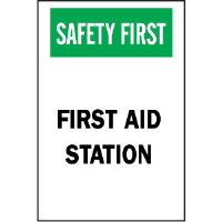 "Brady 85325 ""Safety First: First Aid Station"" Sign, 10"" x 7"", Polyester, B-302"