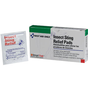 First Aid Only A301 Insect Sting Relief Pads, 10/Box