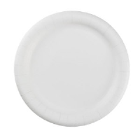 "AJM PP9GRAWH 9"" Green Label White Paper Plates"