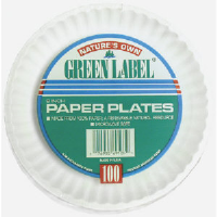 "AJM PP9GREWH 9"" Green Label Paper Plates, White"