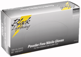 Lightning Gloves BLXL Black Lightning Nitrile Gloves, X-Large