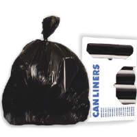 Boardwalk 434717BLK High-Density Trash Liners, Black, 200/Cs.