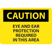 National Marker C151RB Caution Eye & Ear Protection Required Sign